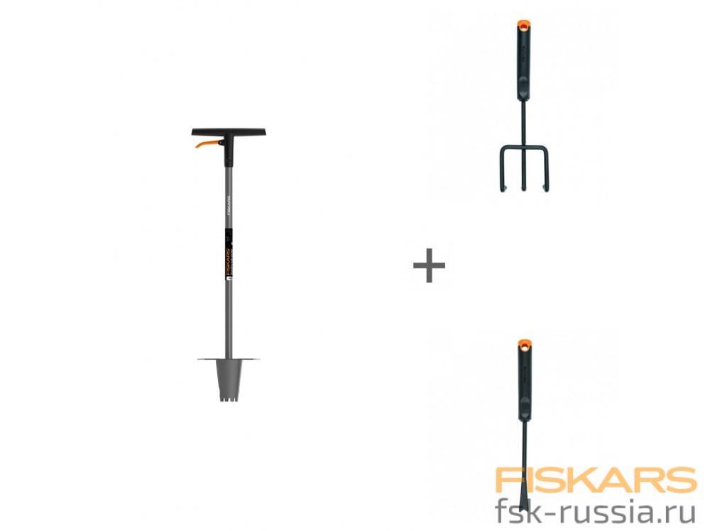Сеялка Fiskars Ergo™ + Культиватор Fiskars Ergo + Нож для прополки Fiskars Ergo