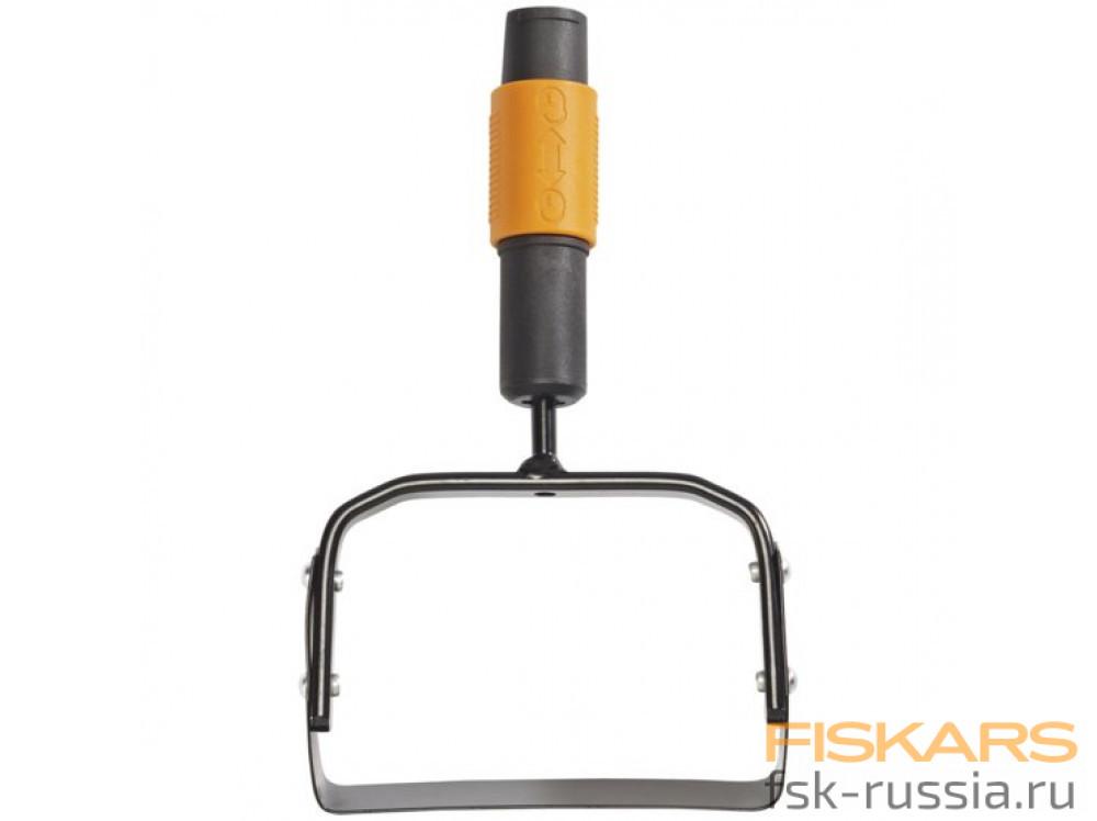 Насадка-пропалыватель Fiskars QuikFit™ + Насадка-культиватор Fiskars QuikFit™ + Насадка-грабли для сбора листвы Fiskars QuikFit™ + Черенок Fiskars QuikFit™ большой